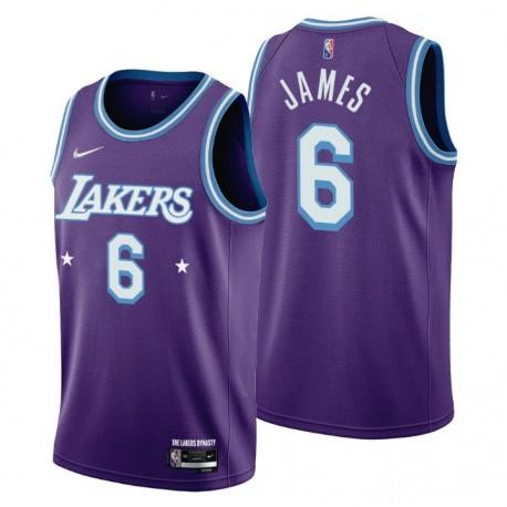 Los Angeles Lakers Lebron James ^ 6 Mixtape Edition Purple Trikot Feiern von NBA 75.