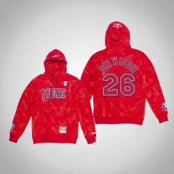 Nets Spencer Dinwiddie # 26 AAPE x Mitchell Ness Camo PulloverHoodie Red