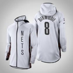 Männer Nets Spencer Dinwiddie # 8 verdient Weiß 2020 Saison Showtime Hoodie