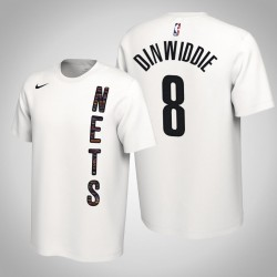 Brooklyn Nets # 8 Spencer Dinwiddie verdient Weiß 2020 Saison Name # Nummer T-Shirt