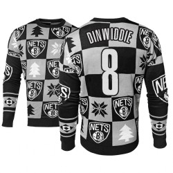 Männer Spencer Dinwiddie Brooklyn Nets # 8 Black 2018 Weihnachten Sweater