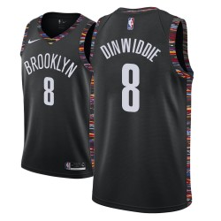 Männer NBA 2018-19 Spencer Dinwiddie Brooklyn Nets # 8 Stadt Edition Black Trikot